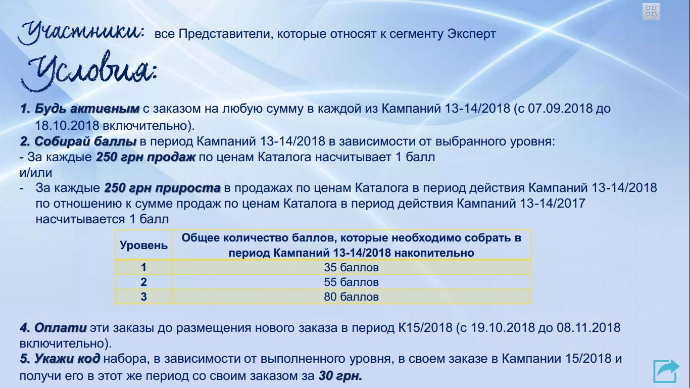 Изображение суммы баллов по программе для Топ-Представителей